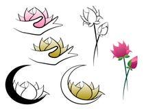Lotus-bloem door maan en handen abstract embleem dat wordt gehouden vector illustratie