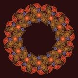 Lotus-bloemen in ingewikkeld cirkelkader worden geschikt dat Populair decoratief motief in Zuidoostelijk Azië Tatoegering Design Royalty-vrije Stock Afbeeldingen
