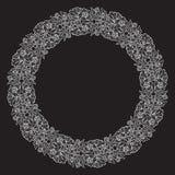 Lotus-bloemen in ingewikkeld cirkelkader worden geschikt dat Populair decoratief motief in Zuidoostelijk Azië Tatoegering Design Stock Afbeeldingen