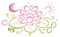 Lotus, bloemen, maan, zon