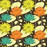 Lotus-bloemen in naadloos patroon Stock Afbeeldingen
