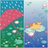 Lotus-bloemkaart Stock Fotografie