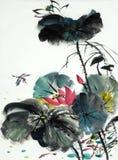 Lotus blomma med sländan och fisken Vektor Illustrationer