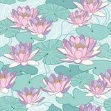 Lotus blommor i sömlös modell Royaltyfri Fotografi