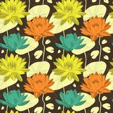 Lotus blommor i sömlös modell Arkivbilder