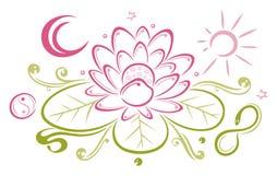 Lotus blommor, måne, sol vektor illustrationer