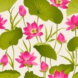 Lotus blommor och sidor vattenfärg seamless vektor för modell Royaltyfri Fotografi