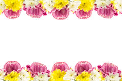Lotus blossom and chrysanthemum flower frame. Pink lotus blossom and chrysanthemum flower frame  on white background Royalty Free Stock Photo
