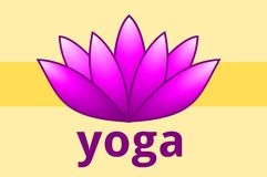 Lotus Blossom with the Word `Yoga`. This is a vector illustration. The illustration shows a lotus blossom. The word `yoga` is written in small letters below. The Stock Photos