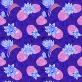 Lotus blue flowers and purple leaves and curly water waves, seamless pattern design, hand painted watercolor on dark blue. Background, top view royalty free illustration