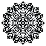 Lotus-Blume, die Bedeutung darstellt: Genauigkeit, geistiges Wecken und Reinheit im Buddhismus in Schwarzweiss in der Mandalaart stock abbildung