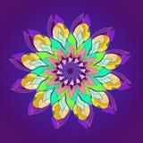 Lotus-Blumenmandala EINFACHER VIOLETTER HINTERGRUND ZENTRALE BLUME IM GELB, TÜRKIS, AQUAMARIN, VEILCHEN, PURPUR Lineares Design lizenzfreie abbildung