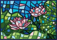 Lotus-Blumenmoses-Buntglas lizenzfreie abbildung