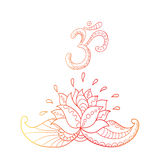 Lotus-Blumenschattenbild und Symbol OM Wasser lilly Stockfotografie
