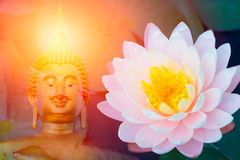 Lotus with buddha. Asian Thailand culture Royalty Free Stock Photo