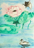Lotus, butterfly and swan, painting Stock Photography