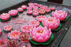 Lotus candle Royalty Free Stock Images