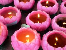 Lotus Candle Stock Photography