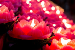 Lotus candle light illuminate a dark surrounding Stock Photos