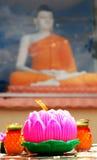 Lotus candle lit on Wesak festival Royalty Free Stock Images