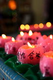 Lotus Candles. Burnt at a Buddhist temple royalty free stock images