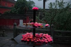 Lotus candles in a buddhist taoist wushu Temple China royalty free stock photos
