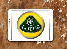 Lotus car logo. Logo of lotus car brand on samsung tablet on wooden background Royalty Free Stock Photo