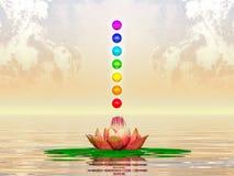 Lotus And Chakra Spheres sacra Fotografie Stock