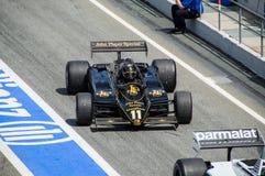 Lotus 91/5 in circuito de Barcellona, Catalogna, Spagna fotografia stock libera da diritti