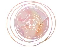 Lotus circulaire de symbole de méditation de mandala d'aquarelle Photos stock