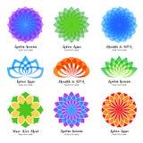 Lotus color vector logo, label and emblem set Stock Image