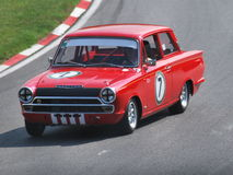 Lotus Cortina Mark One race car. Brands Hatch 2014 Stock Image