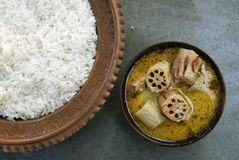 Lotus curry is an Indian dish made of lotus stem Stock Photos