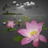 Lotus damm med ön Arkivbilder