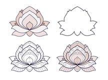 Lotus-is de bloem vastgestelde vectorillustratie geïsoleerd op een witte achtergrond Symmetrisch decoratief element met de motiev royalty-vrije illustratie