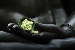 Lotus in de hand van Boedha. Stock Foto