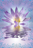 Lotus with decorative edging. Lotus and reflection with decorative edging Stock Images