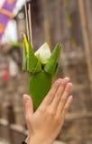 Lotus in den Händen Lizenzfreie Stockfotos