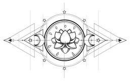 Lotus e geometria sagrado Símbolo de Ayurveda da harmonia e do balanc ilustração stock