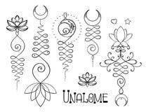 Lotus e la geometria sacra Simbolo indù di Unamole di saggezza e di PA royalty illustrazione gratis