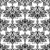 Lotus, eastern vector seamless pattern with paisley. Royalty Free Stock Images