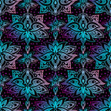 Lotus, eastern vector seamless pattern with paisley. Royalty Free Stock Image