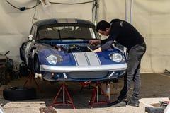 Lotus Elan in der montjuic Geist Barcelona-Stromkreisautoshow lizenzfreie stockfotografie