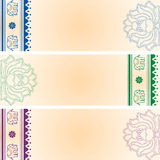 Lotus and elephant horizontal Indian banners Stock Photo