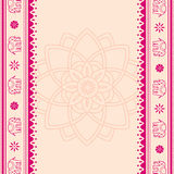 Lotus and elephant pink and cream Indian banner Stock Photo