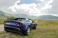 Lotus Elise - gran sasso national park on straight Royalty Free Stock Images