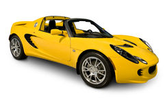 Lotus Elise sports car. A Yellow Lotus Elise Sports Car isolated on white. Clipping Path on vehicle. See my portfolio for more vehicle images stock image