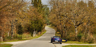 Lotus Elise, Tuscan road in autumn. Lotus Elise on road in an autumn Tuscan forest Stock Photos