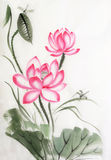 Lotus en libel Stock Afbeeldingen