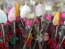 Lotus en peepul voor verering Boedha Stock Fotografie